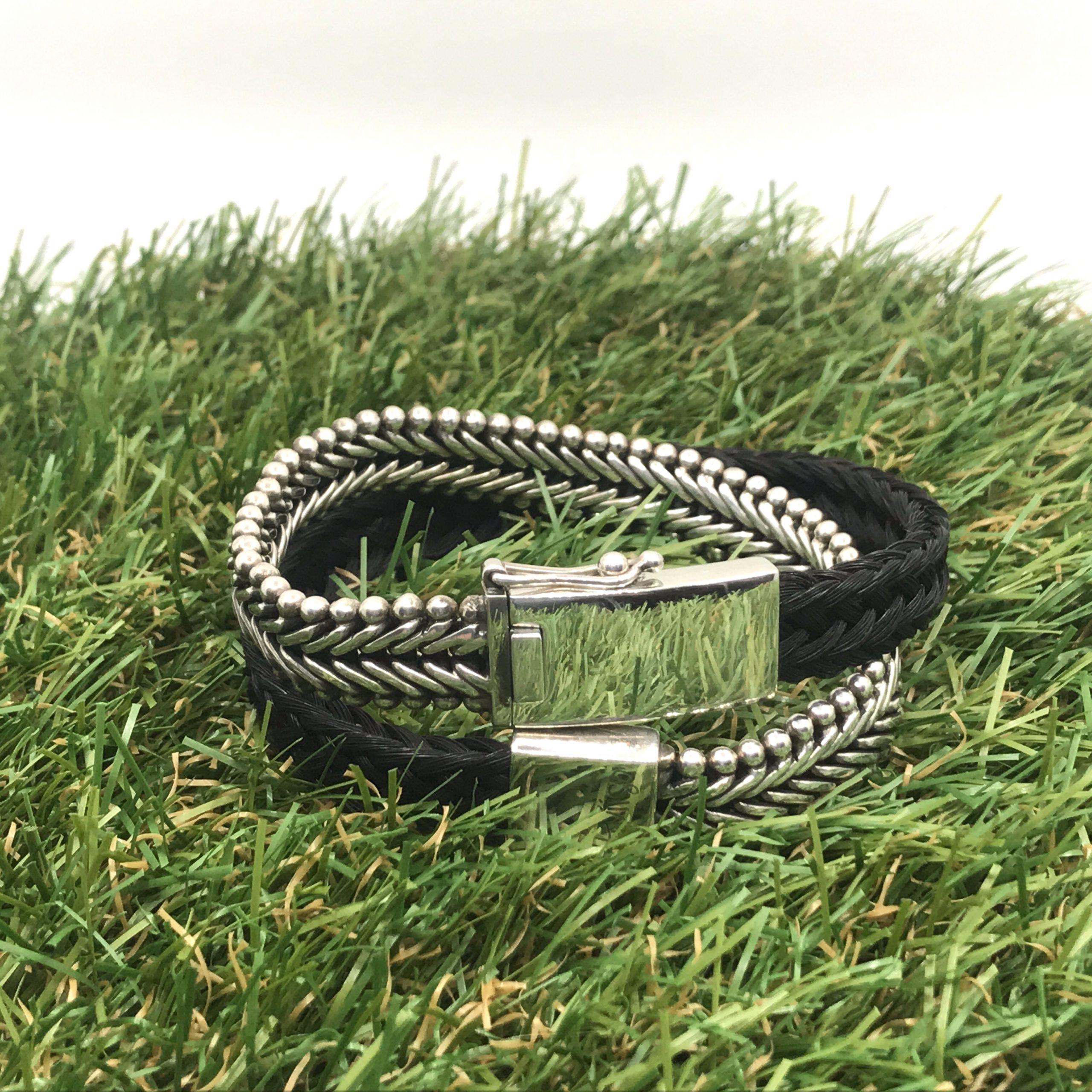 Aviiso Armband met paardenhaar sterling zilver